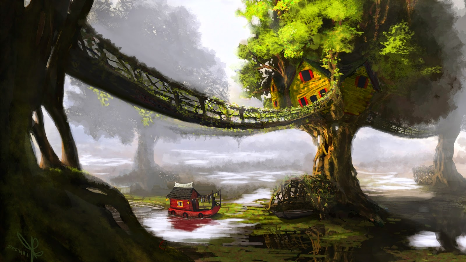 Cute Small Girl Wallpapers For Facebook Beautiful Tree House Fantasy Fairy Tale Images Pictures Hd