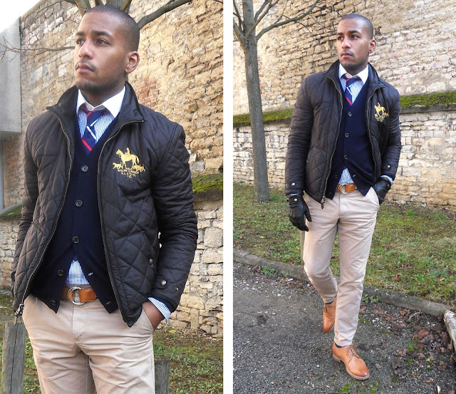 style a preppy quilted jacket with a cardigan and button down