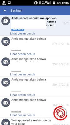 Nah nantinya akan muncul beberapa pesan masuk dari pihak Facebook soal laporan dari kita, sebagai contoh laporan soal kita melaporkan orang yang menggangu