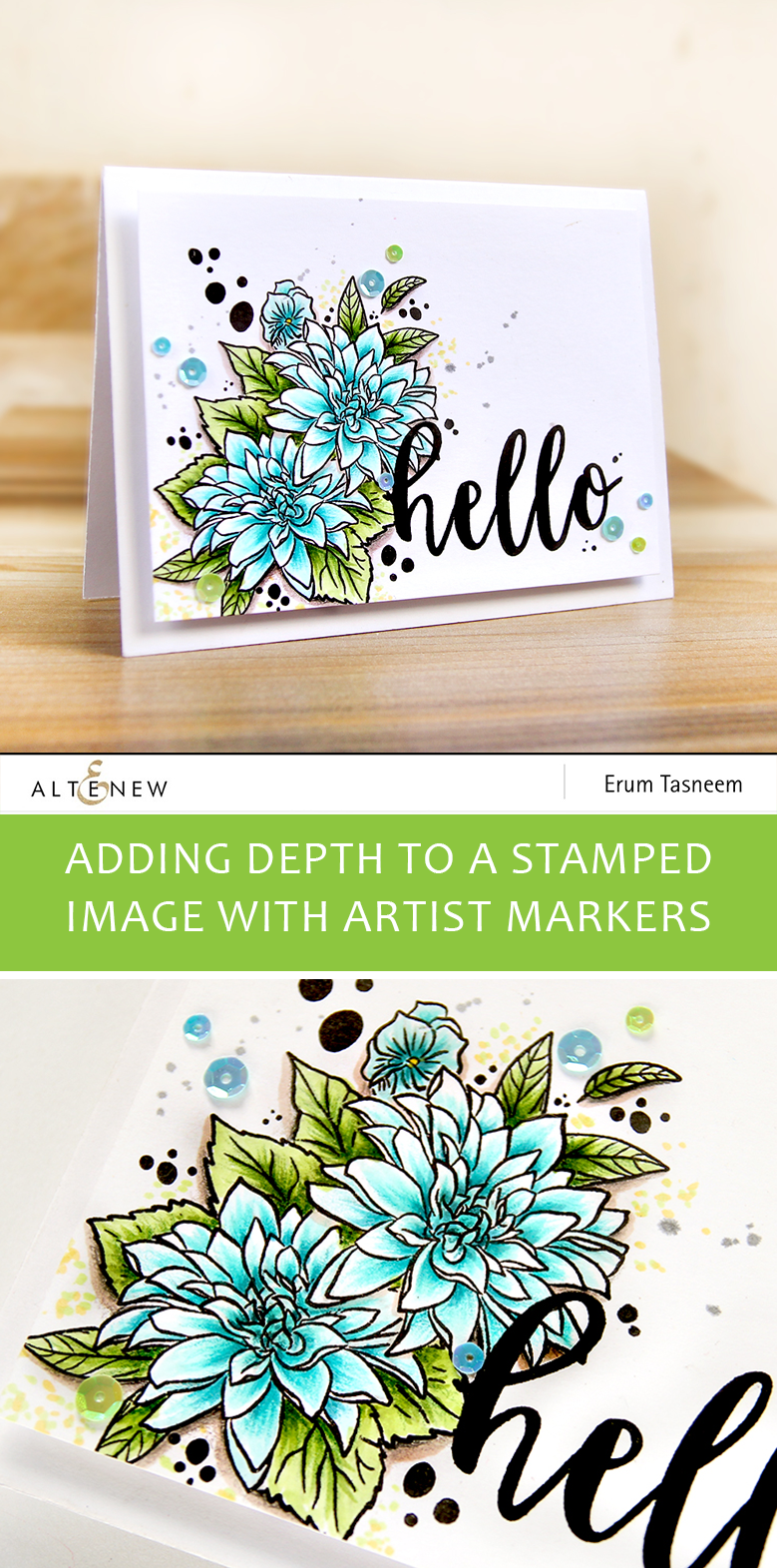 Altenew Blooming Bouquet Stamp Set coloured with Artist markers | Erum Tasneem | @pr0digy0