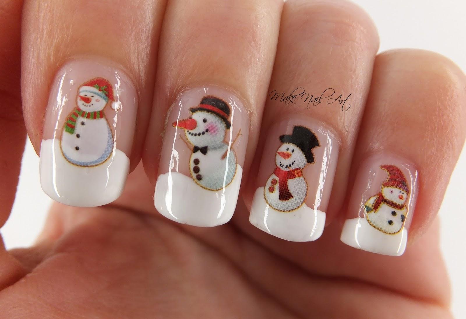 Make nail art snowmen water decals nail art design tutorial video tutorial prinsesfo Images