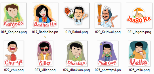 Indian Hindi Talk 2016 HIKE Stickers Pack ZIP Download For All
