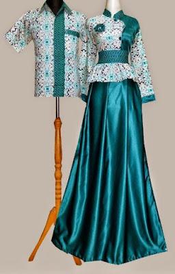 Model Gamis Batik Kombinasi Satin simpel