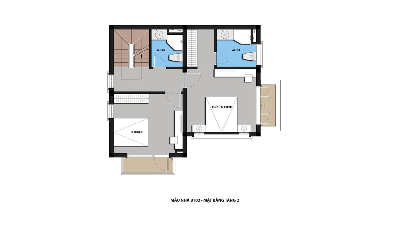 Mặt bằng tầng 2 biệt thự Hateco 5 Xuân Phương