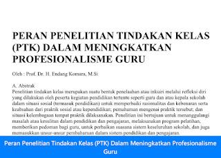 Laporan Peran Penelitian Tindakan Kelas (PTK) Dalam Meningkatkan Profesionalisme Guru