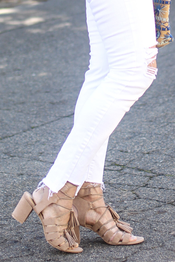 tan suede block heel sandals