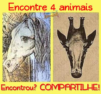 Ilusão de Ótica: Encontre 4 animais