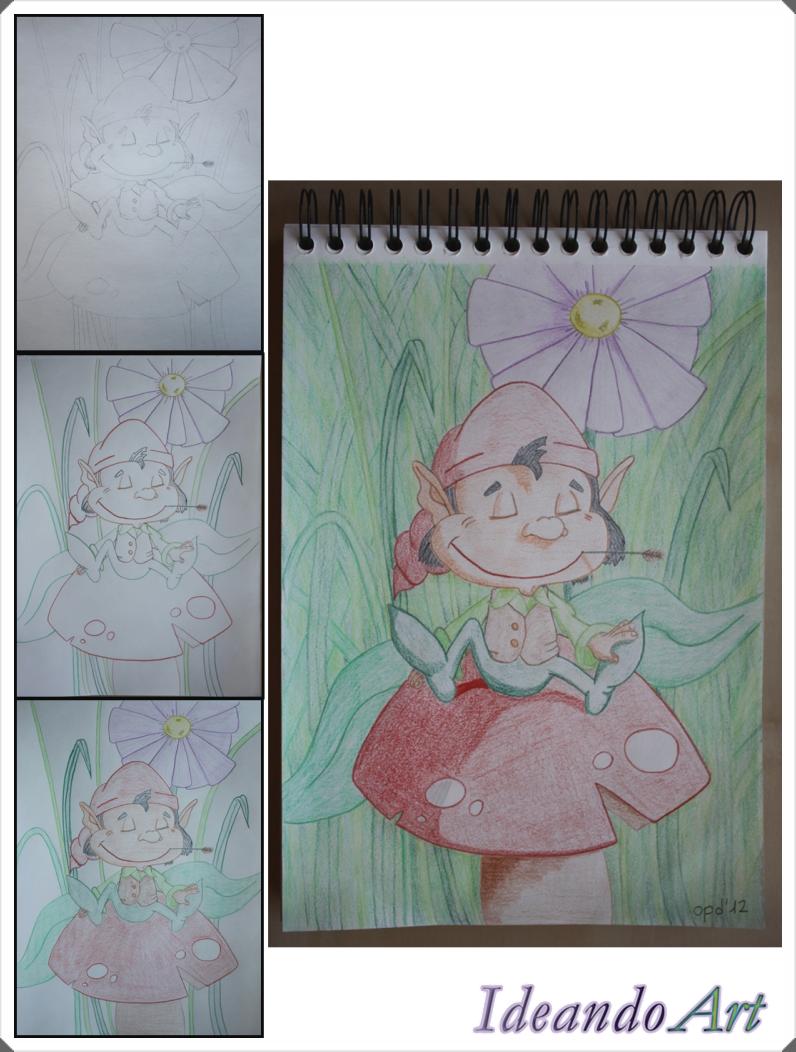 Dibujo duende lápices colores