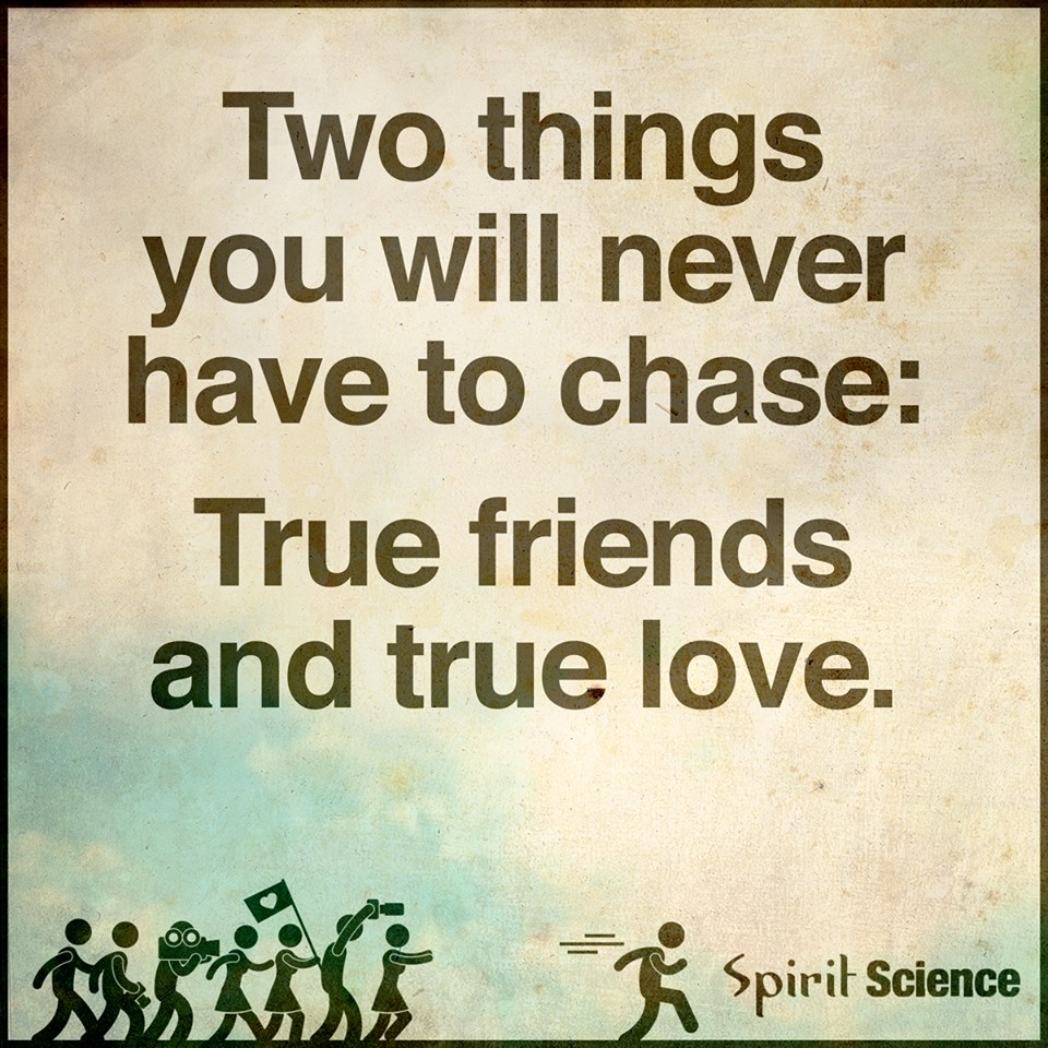 Spirit Science Quotes: Two Things You Will Never Have To Chase: True Friends And