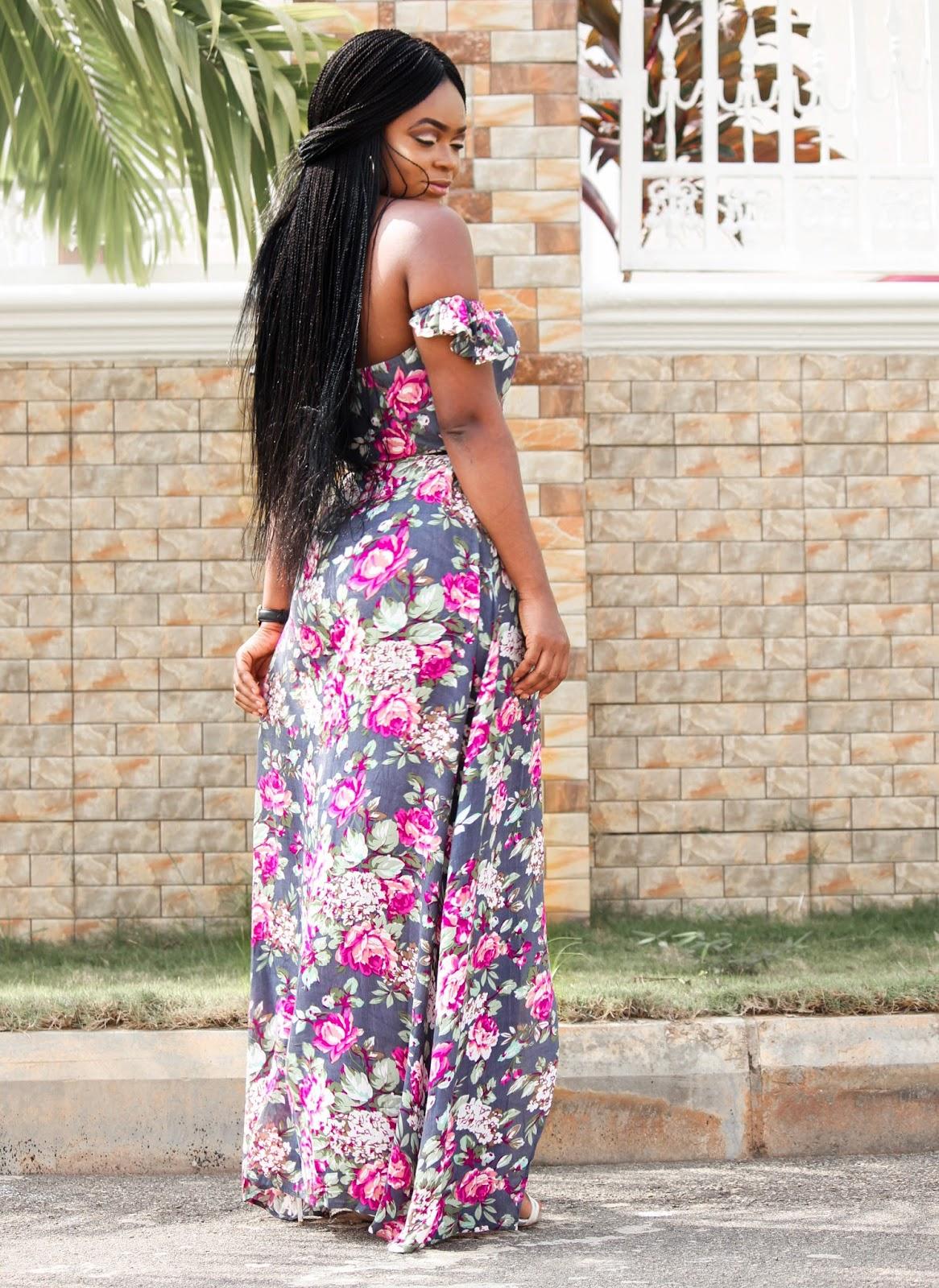 OFF SHOULDER FLORAL MAXI - Off Shoulder Floral Maxi Dress from Zaful