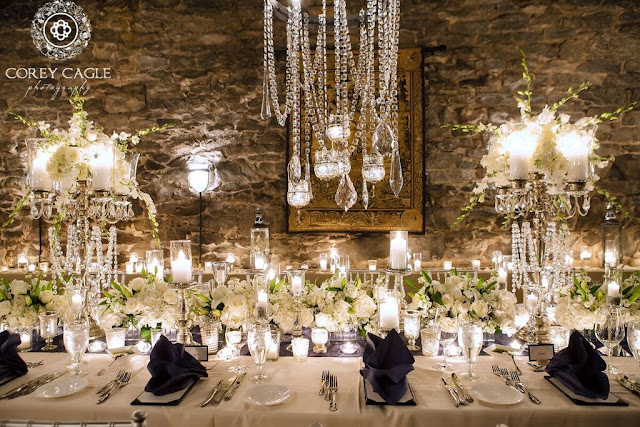 Crystal chandelier in the Champagne Cellar | Corey Cagle Photography