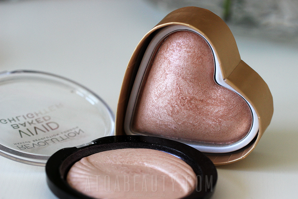 Makeup Revolution, Vivid Baked Highlighter, Peach Lights & I Love Makeup Goddess of Love Triple Baked Highlighter