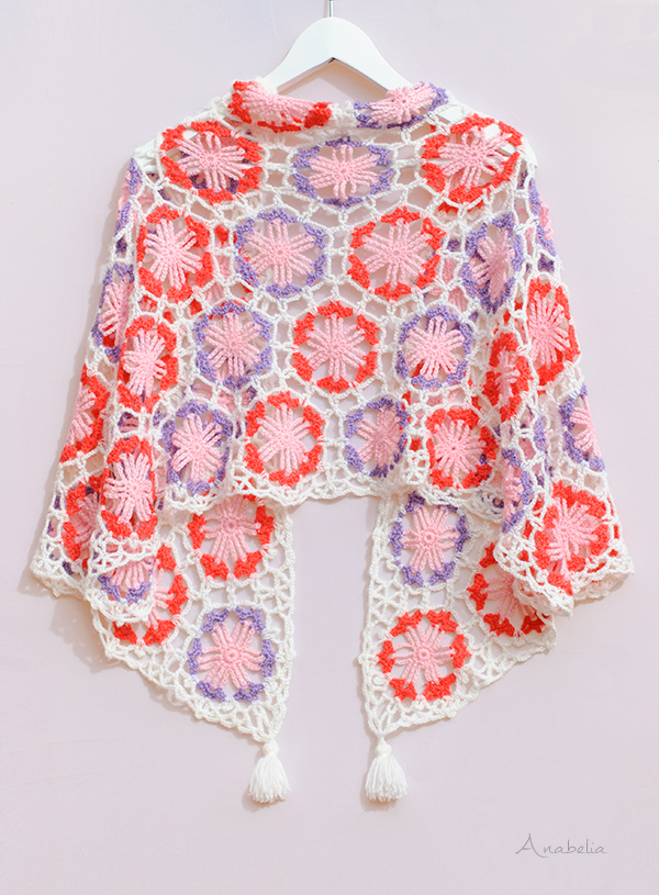 Hexagonal motif crochet shawl - pattern by Anabelia Craft Design