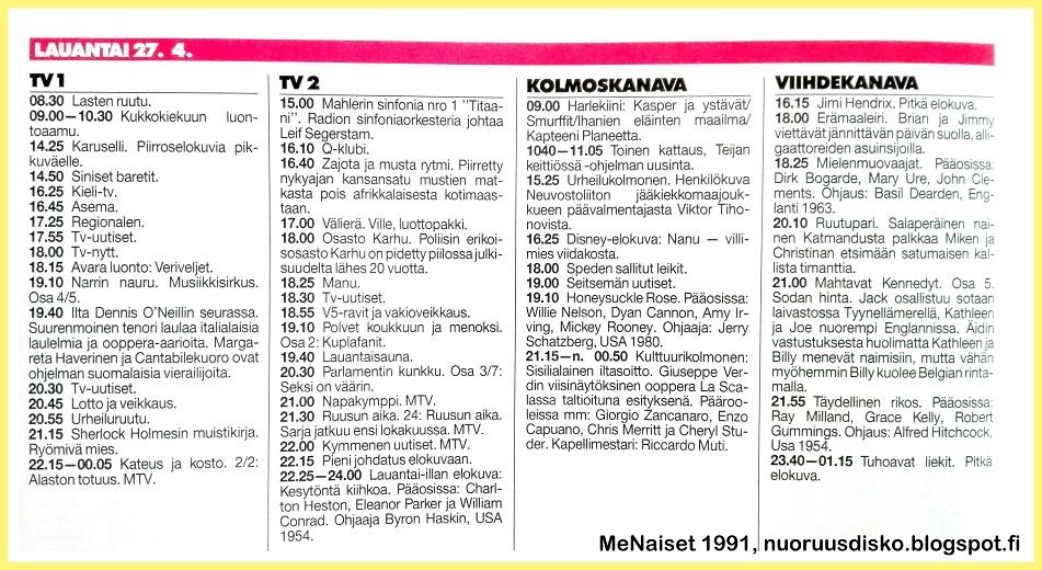 vanhat tv ohjelmatiedot Heinola