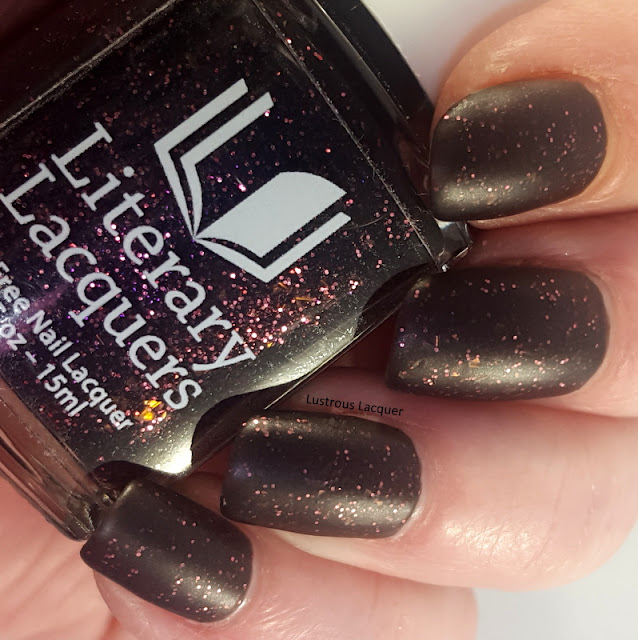 Black matte nail polish with pink glitter and shimmer from the As You Wish Trio Valentines collection 2018