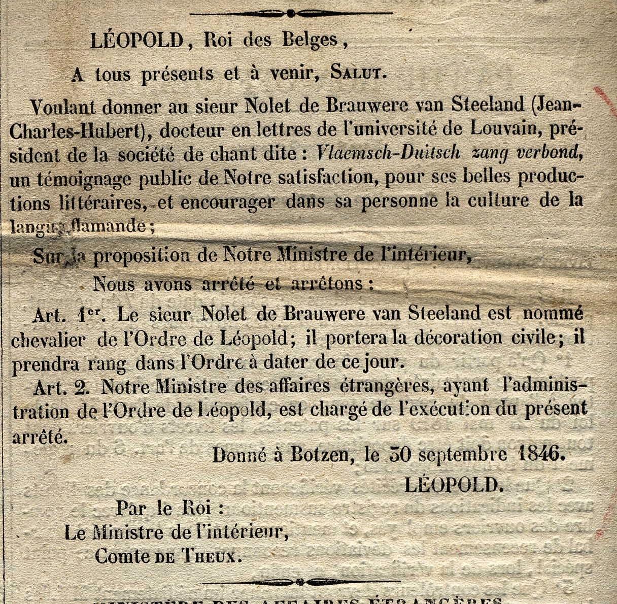 Moniteur belge n° 290, 1846. Archives Nolet de Brauwere van Steeland.
