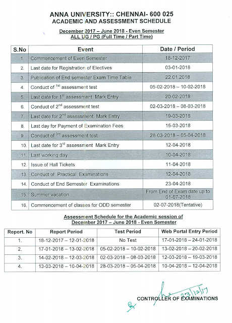 Anna University Academic Schedule June 2018 - Full Details