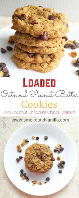 Loaded Oatmeal Peanut Butter Cookies by www.smokeandvanilla.com - A simple and easy recipe for chewy, flour-less, and gluten free peanut butter cookies loaded with oatmeal, chocolate chips, walnuts, and coconut. http://bit.ly/2o1yz9G