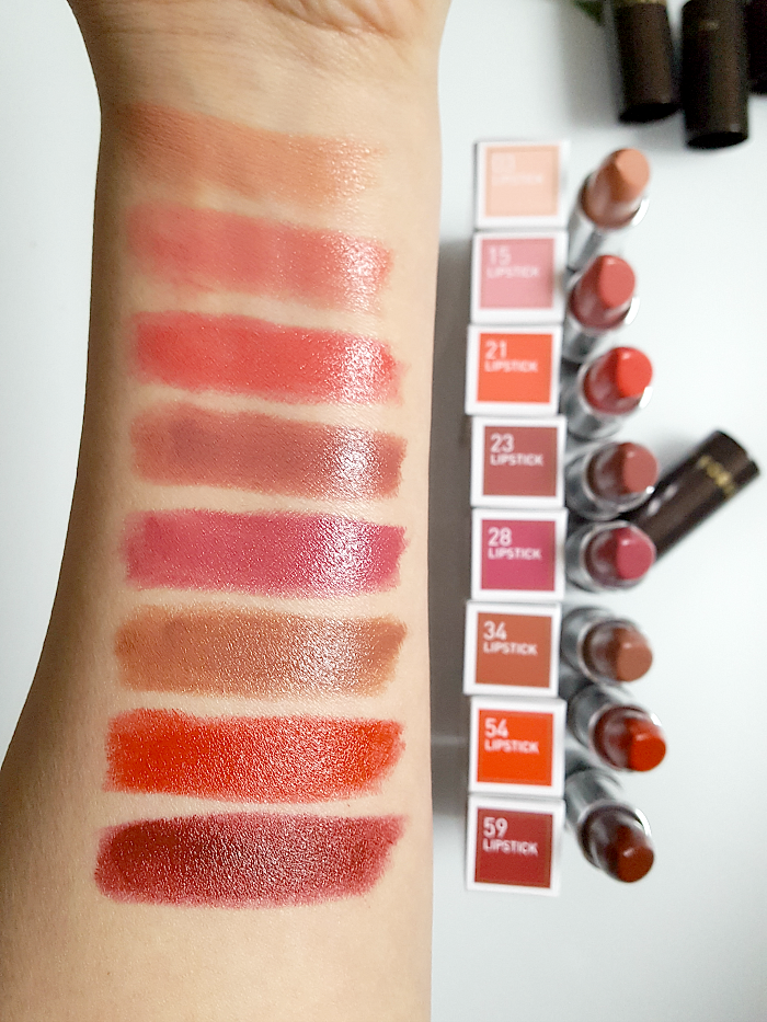 Review & Swatches: KORRES Morello Lipstick Sheen Finish - 03 Warm Beige, 15 Blooming Pink, 21 Vivid Pink, 23 Natural Purple 28 Pearl Berry, 34 Mocha Brown, 54 Classic Red, 59 Burgundy Red