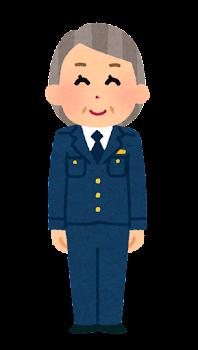 警察官のイラスト(女性・制帽なし・パンツ・老人)
