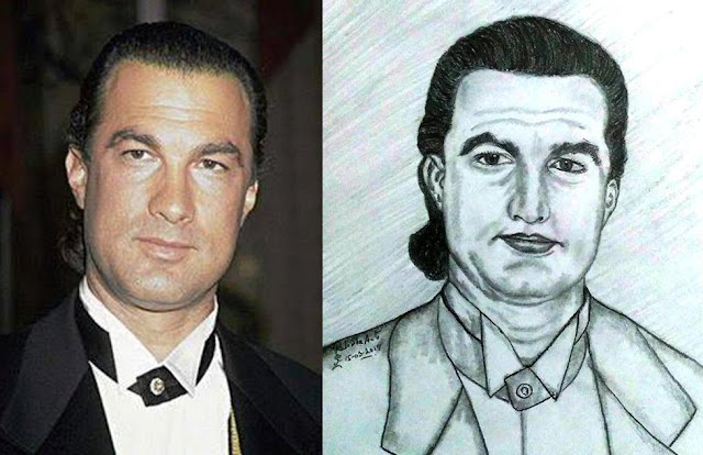 PENCIL DRAWING - ACTOR STEVEN SEAGAL