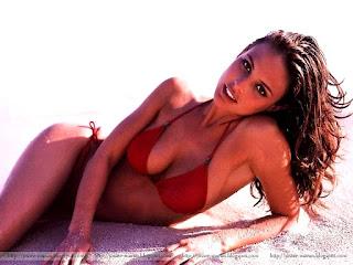 josie maran, model, actress, josie maran bikini, red bikini, lying on sand, beach, photo