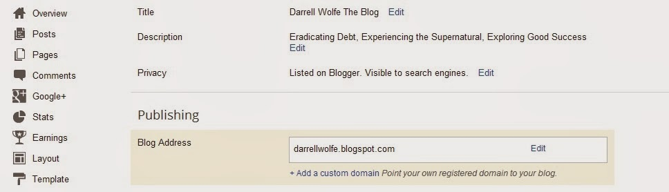 Screen Shot of Blogger +add domain area