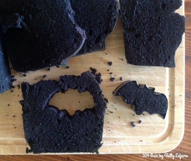 Cut bats out of the cooled black pound cake