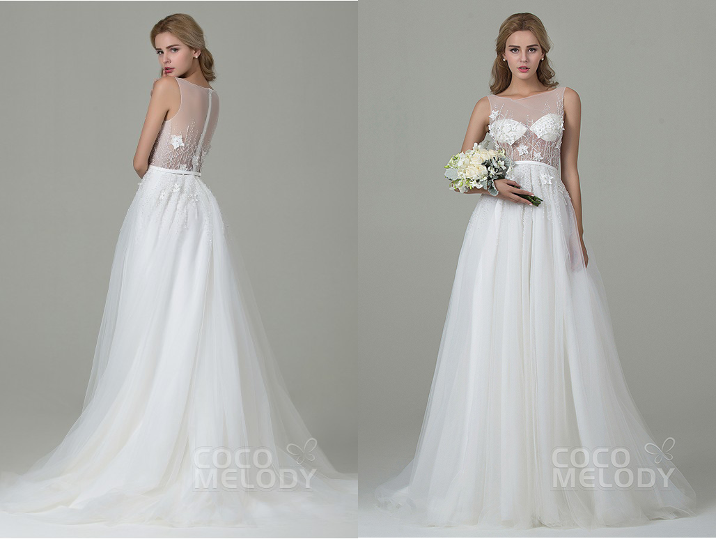 Sheer backless wedding dress from CocoMelody