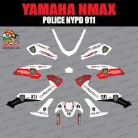Sticker striping motor stiker Yamaha N-max NMax Police NYPD Putih anulator