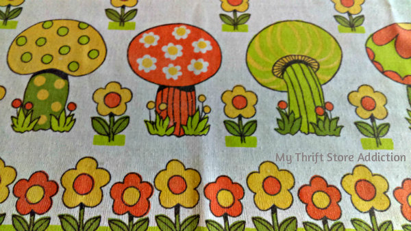 Friday's Find #145 mythriftstoreaddiction.blogspot.com Retro mushroom vintage tablecloth available on Etsy: Thrift Store Addiction