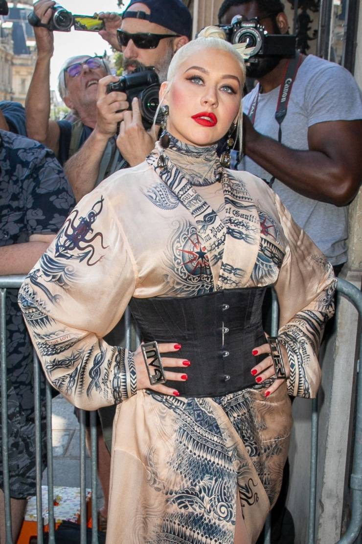 Christina Aguilera At Jean Paul Gaultier Haute Couture FallWinter