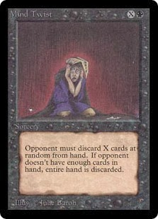 Magic the Gathering black sorcery discard X-spell