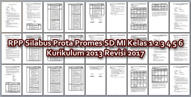 RPP Silabus Prota Promes SD MI Kelas 1 2 3 4 5 6 Kurikulum 2013 Revisi 2017