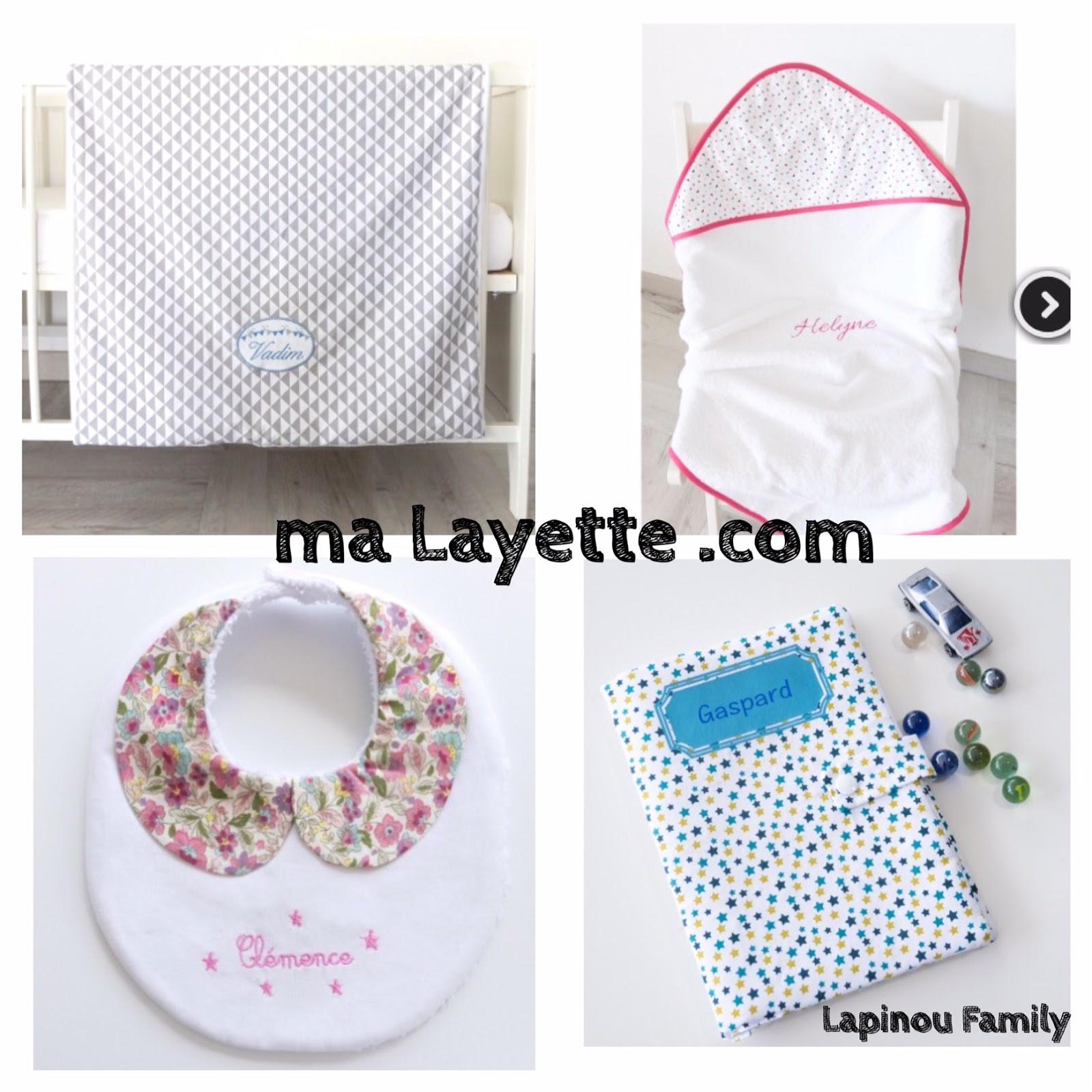 des cadeaux de naissance personnalis s avec le site ma layette lapinou family. Black Bedroom Furniture Sets. Home Design Ideas
