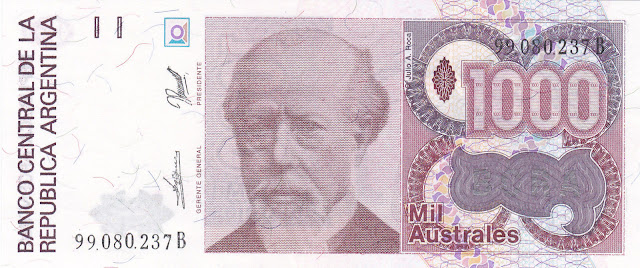 Argentina Banknotes 1000 Australes banknote 1989 Julio Argentino Roca
