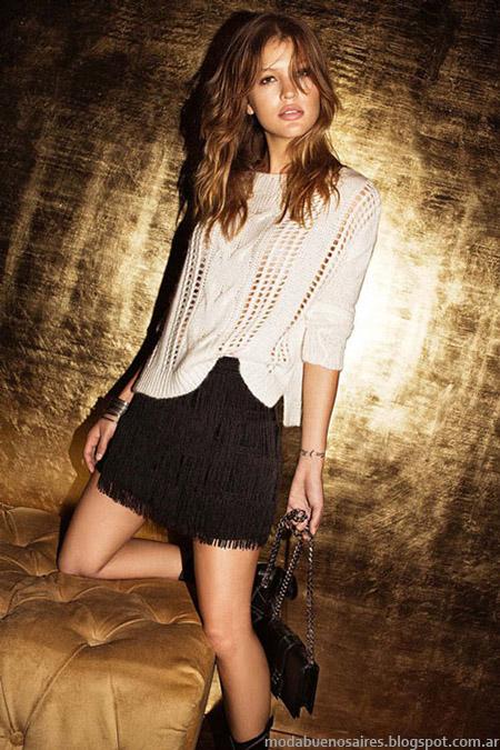Moda otoño invierno 2015 sweaters y faldas Cuesta Blanca.