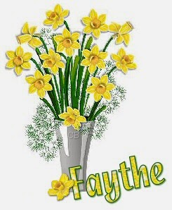 vase full of daffodils name tag graphic