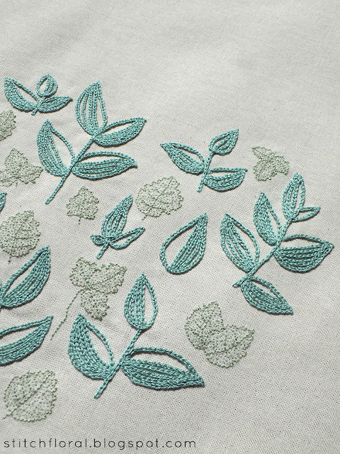 Progress report: Mint Tea pattern stitched