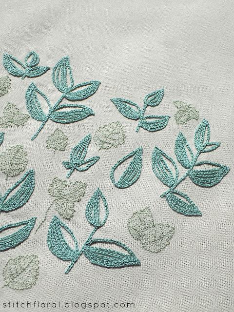 Progress report: Mint Tea pattern stitched