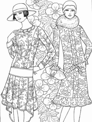 flower fashion coloring pages for adult