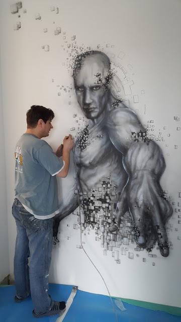 Malowanie obrazu świecącego w ciemności, obraz w ultrafiolecie, mural uv świecący w ciemności