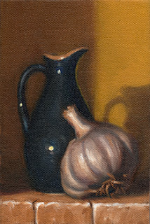 Oil painting of a garlic bulb beside a small blue porcelain sauce jug.