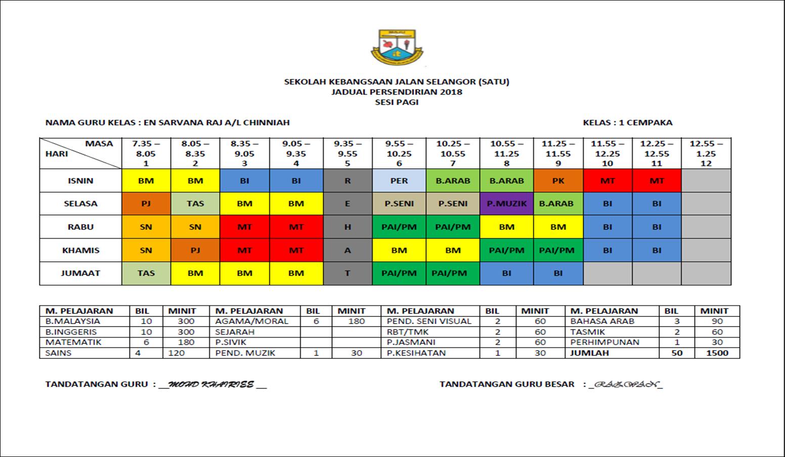 Jadual Waktu Kelas 2018 Sk Jalan Selangor Satu