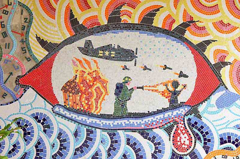 tile mosaic depicting war