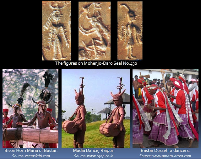 Gond males dress up in horned head-dresses with plumes or leafy branches, long head-scarves, plumes, long skirts, jewellery and bangles, just like the figures on  Mohenjo-Daro Seal No.430