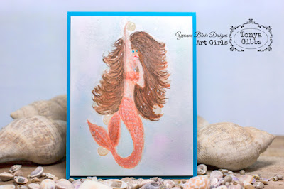 Yvonne Blair Art Girls Tonya Gibbs Mermaid Card #mixedmedia #iostamp #ybartgirls