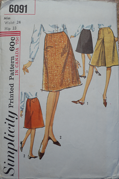 Vintage Simplicity 6091 Inverted Pleated Skirt Pattern