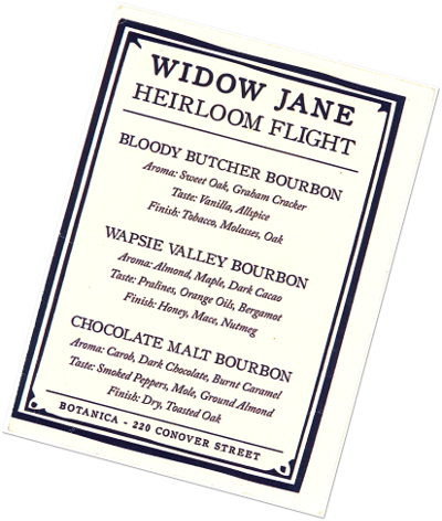 Carte des cocktails Widow Jane Botanica - Balade à Red Hook - New York - Le Chameau Bleu
