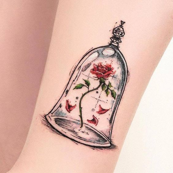 Disney Tattoo Rose and Jar
